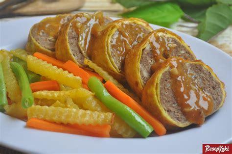 resep membuat nasi tim daging sapi rolade daging sapi siram saus gurih resep resepkoki