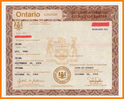 Ontario Canada Marriage Records 8 Marriage Certificate Canada Science Resume