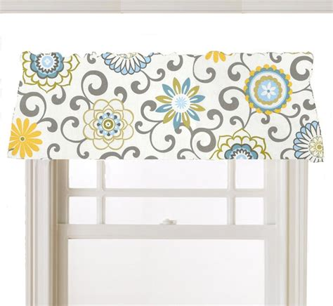 Yellow And Blue Window Valances Window Topper Valance Mod Flowers Gray White Yellow