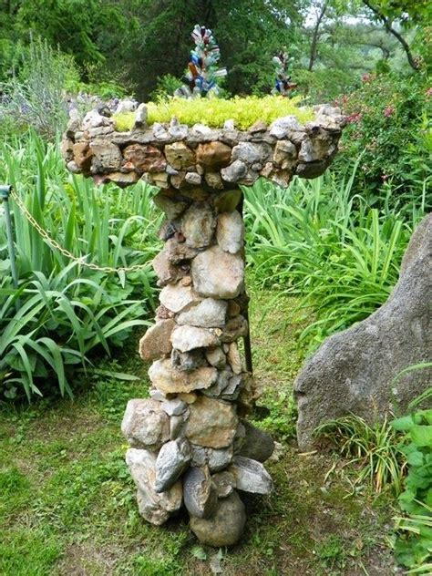 photo only love this idea bird bath covered in rocks