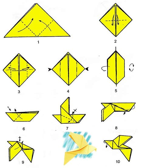 Simple Origami Birds - origami dove single chart