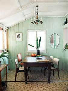 Soft Green Dining Room Great Way To Give Wood Paneled Walls A Modern Country