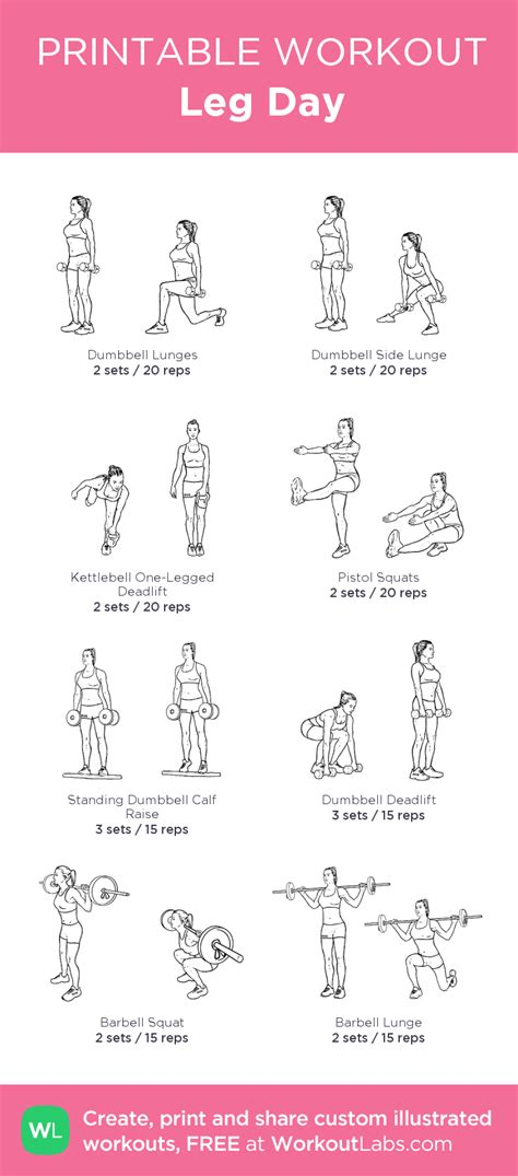 printable workout images leg day my custom printable workout by workoutlabs pair