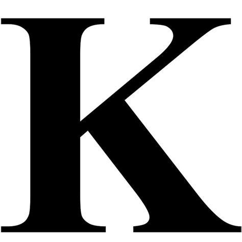 New K the letter k in black times new serif font typeface