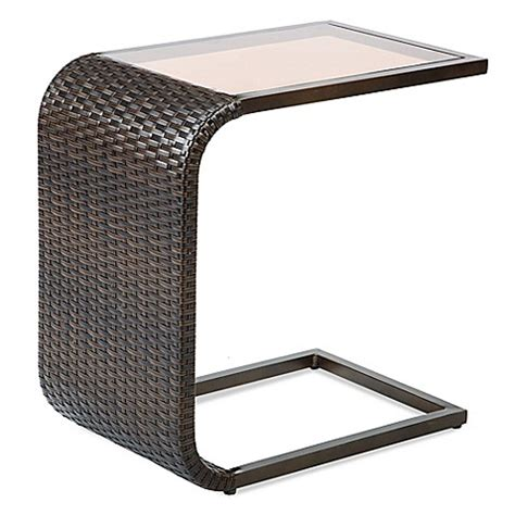 c shaped accent table barrington wicker c shaped accent table bed bath beyond