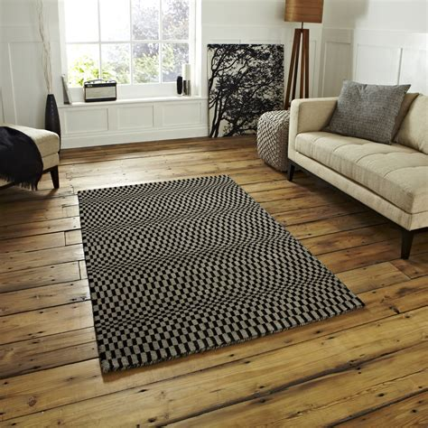 Hand Knotted Striped Oxford Rug Modern 100 Wool Large Floor Rugs