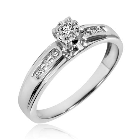 1 4 ct t w trio matching wedding ring set 10k
