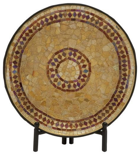 Mirage Gold Plat White beautiful metal mosaic platter with stand contemporary
