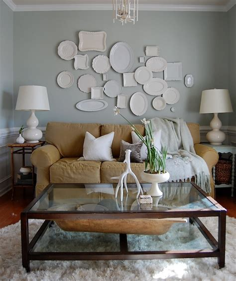 comfort gray sw decorative wall plates transitional living room