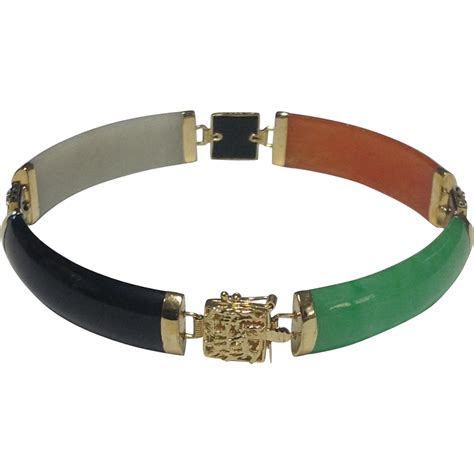 colored for bracelets 14k yellow gold multi colored jade bracelet 7 inches
