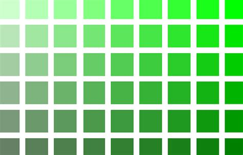 different shades of green paint lime green color chart gallery
