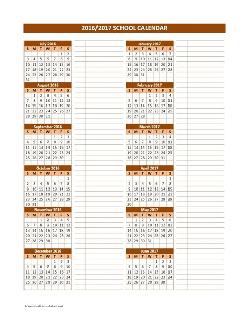 academic year calendar template 2016 2017 school calendars
