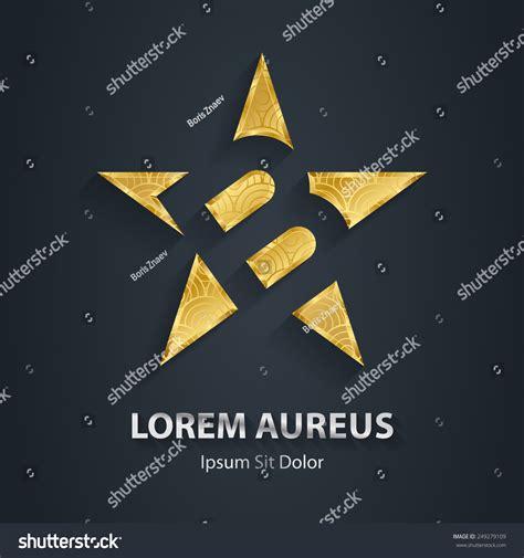 golden pattern award letter b inside gold star logo stock vector 249279109