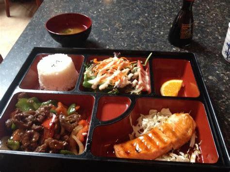 Beef Yakiniku By Roku Bento salmon teriyaki yakiniku beef rice and salad lunch