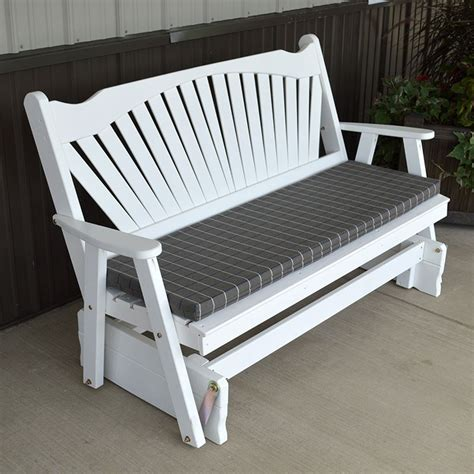 porch bench glider a l furniture co fanback outdoors porch glider bench