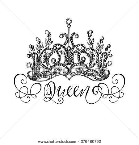 flower design queens elegant hand drawn queen crown with lettering graphic