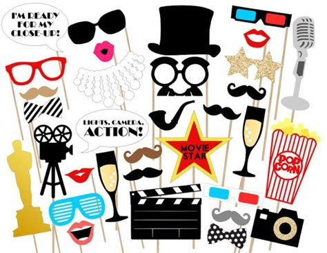 free printable movie themed photo booth props oscar awards party printable photo props by