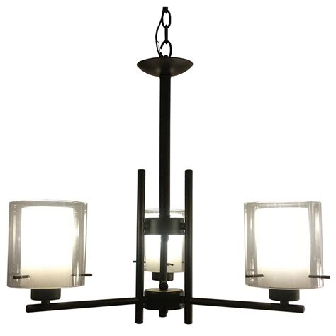 3 Light Black Chandelier Filament Design 3 Light Black Chandelier With Flat White And Clear Glass Shade Ch28055 3bk The