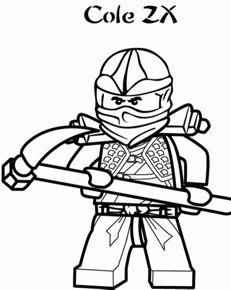 Black Ninjago Coloring Pages | cole the black ninja of lego ninjago coloring page for