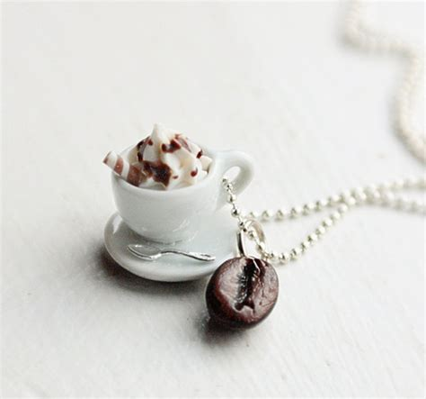 Cappucino Coffee Bean cappuccino coffee bean necklace the coffee cup