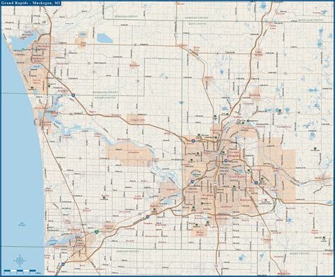 grand map with cities grand rapids digital vector creative