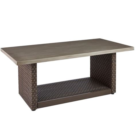 home depot outdoor coffee table hton bay brown all weather wicker outdoor