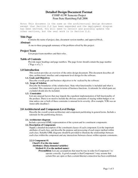 design specification form 6 design description document template images design