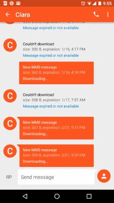 android text messages stuck downloading or expired