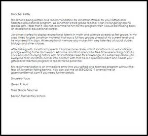 gifted and talented recommendation letter sle livecareer