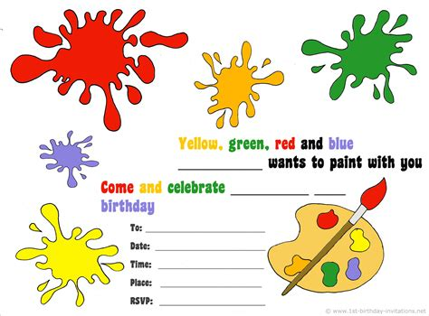free printable art party invitations 14 printable birthday invitations many fun themes 1st