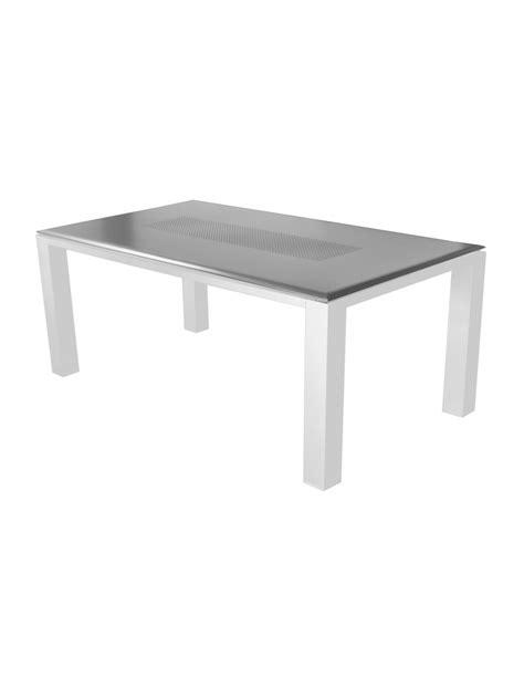 aluminium geländersysteme table gela 180 blanc gris proloisirs tables de jardin
