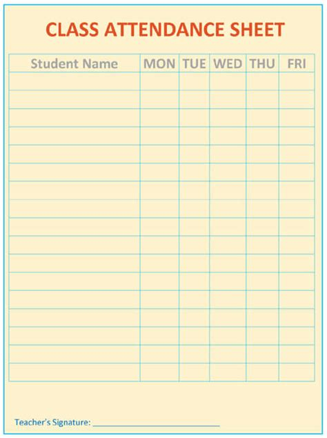 attendance sheet templates printable attendance sheet template word