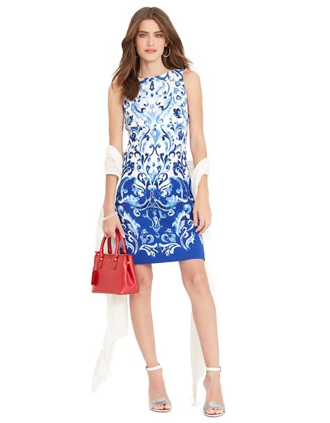 Rl Dress Glowing Blue by ralph sleeveless damask dress in blue blue white save 38 lyst