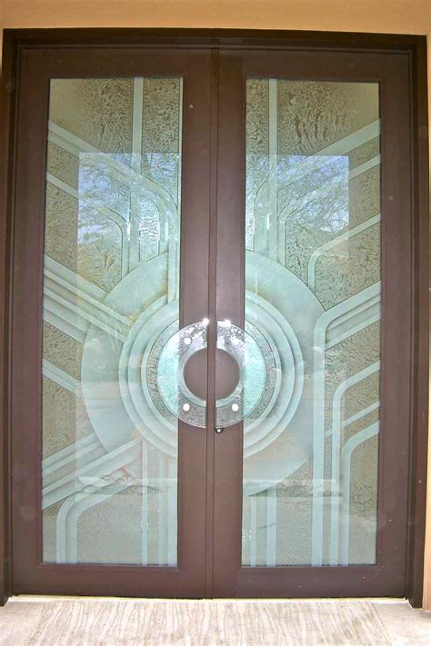 etched glass door geometric deco glass