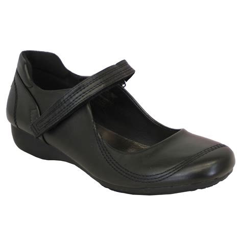 shoes womens leather look wedge school fashion