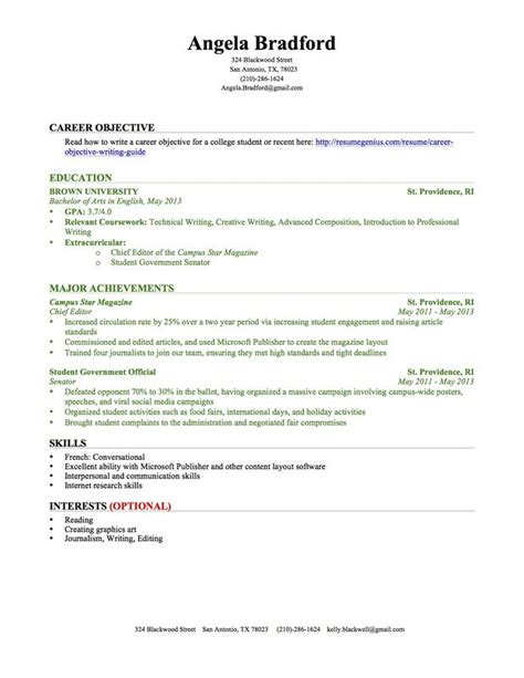 Sle Resume For High School Students With No Experience by Computer Science College Student Resume Template For Graduates No Experience Resume Tutor Sle