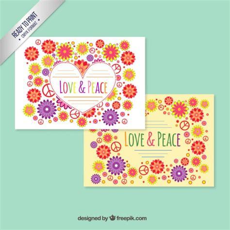 bloemen vrede en vrijheid de schooten bloemen liefde en vrede kaart vector gratis download