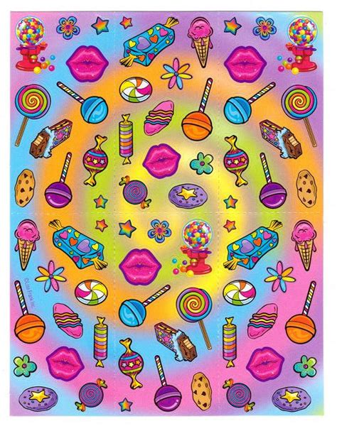 lisa frank sweets candy shop sticker sheet chocolate bar