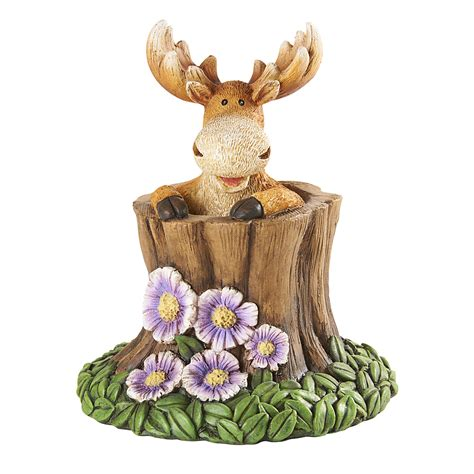 moose lawn ornament moose in tree trunk outdoor living outdoor decor lawn ornaments statues