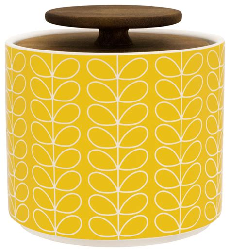 Yellow Storage Jars Kitchen - orla kiely linear stem 1l storage jar yellow contemporary kitchen canisters and jars by