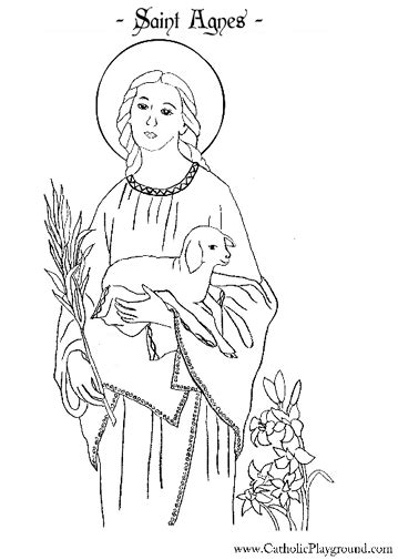 coloring page of catholic saints saint agnes catholic coloring page 2 feast day is jan
