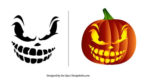 10 free halloween scary pumpkin carving patterns stencils