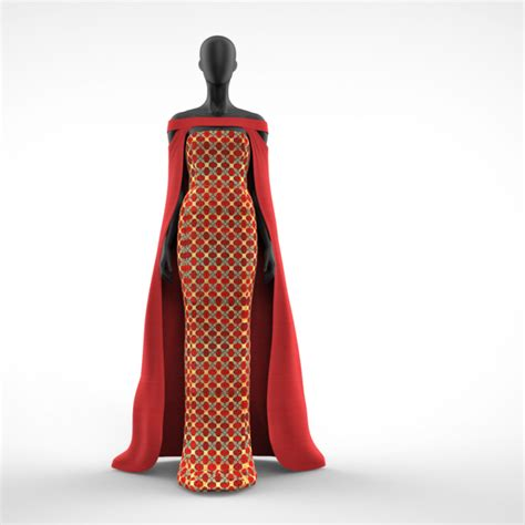 Dress Sika Scuba adwoa 2 print dress with block colour maxi cape