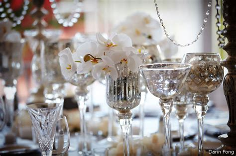 elegant wedding reception decor centerpiece vases mercury