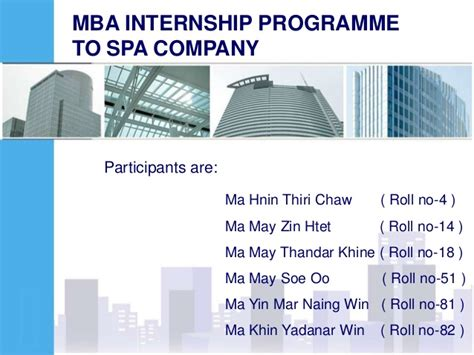 Mba Finance Summer Internships by Thanlyan City Mba Internship Programme