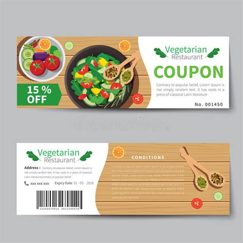 discount card design template vegetarian food coupon discount template flat design stock