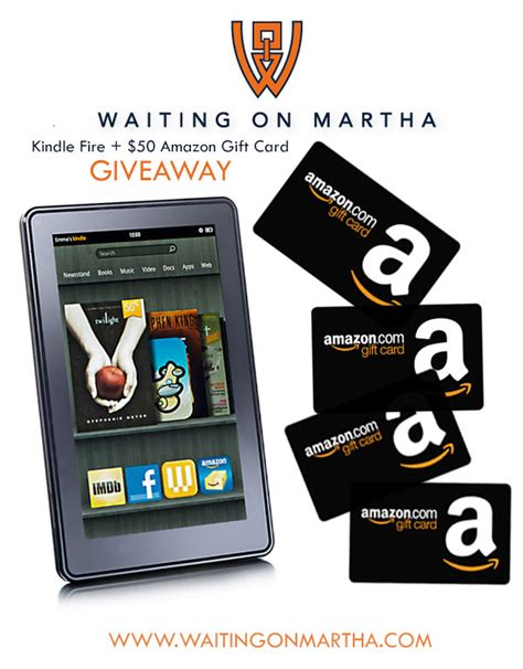 Gift Card For Kindle Fire - amazon kindle fire 50 gift card giveaway waiting on martha