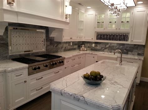 Kitchen Cabinet With Countertop Grey And White Granite Countertop For Counter Kitchen Island With White Paint Base Also