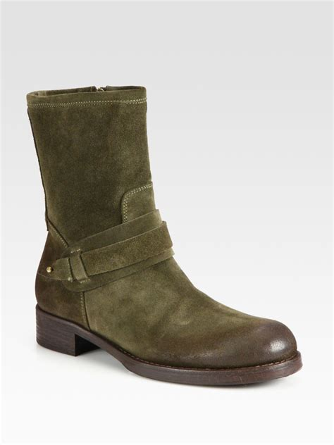 alberto fermani suede boots in green olive lyst