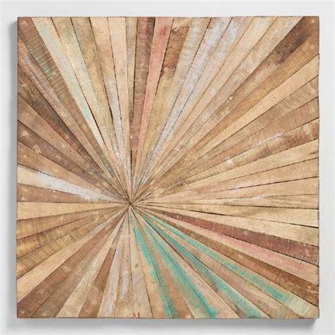 antiqued sunburst wood panel wall decor world market